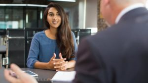 Girl interviewing for a Corporate Job